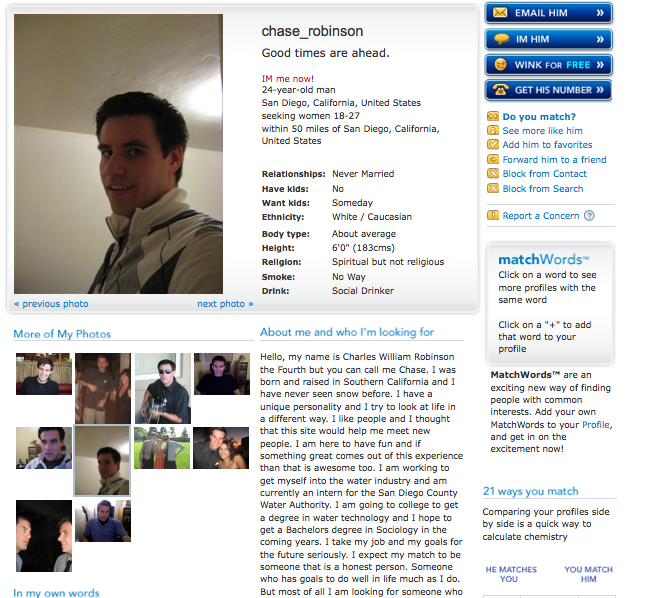 Profile example for dating site